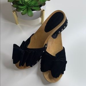 Sigerson Morrison Aida Studded Bow Clog Sandal 9